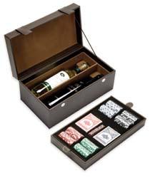 Δερμάτινο κουτί για 2 μπουκάλια και σετ τράπουλας