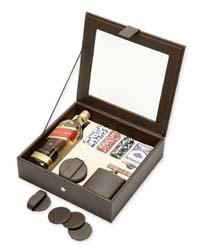 Δερμάτινο κουτί-Θήκη με τζάμι για ουίσκι, φλάσκι, 4 σουβέρ και σετ τράπουλας